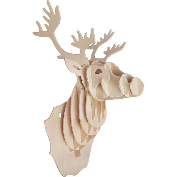 Wooden Stag Head